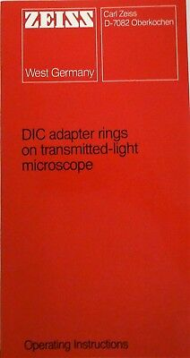 Zeiss Dic Adapter Rings On Transmitted-light Microscope Operating Instructions