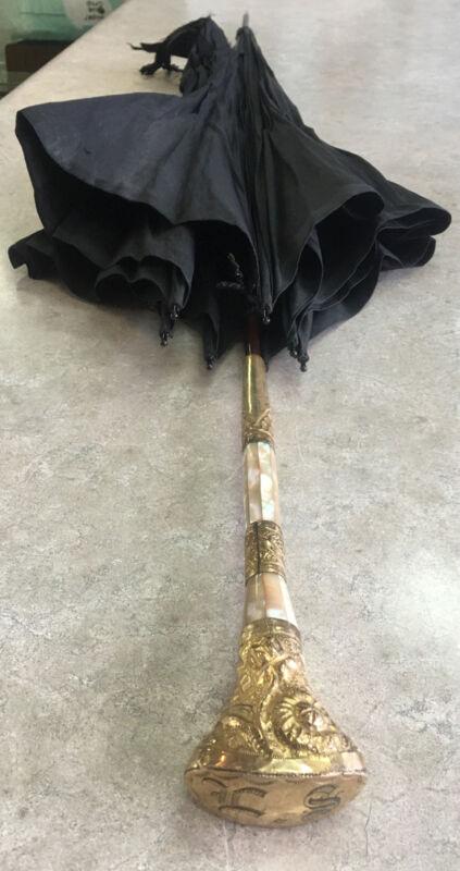 Lovely Antique Vintage Mother of Pearl Gold Filled Handle Umbrella