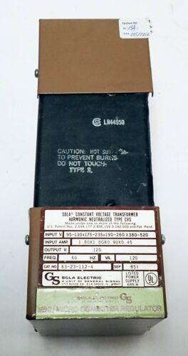 SOLA 63-23-112-4 120V HARDWIRED REGULATOR INPUT 120-480V  OUTPUT 120V 60Hz ONLY