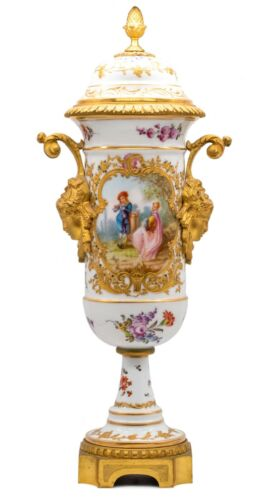 FRANCE 1870 SEVRES PORCELAIN LOUIS XVI VASE WITH LID, GILDED ORMOLU MOUNTING