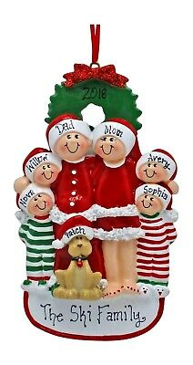 PERSONALIZED Ornament Christmas Pajama Family of 3 5 6 With Dog Holiday Gift
