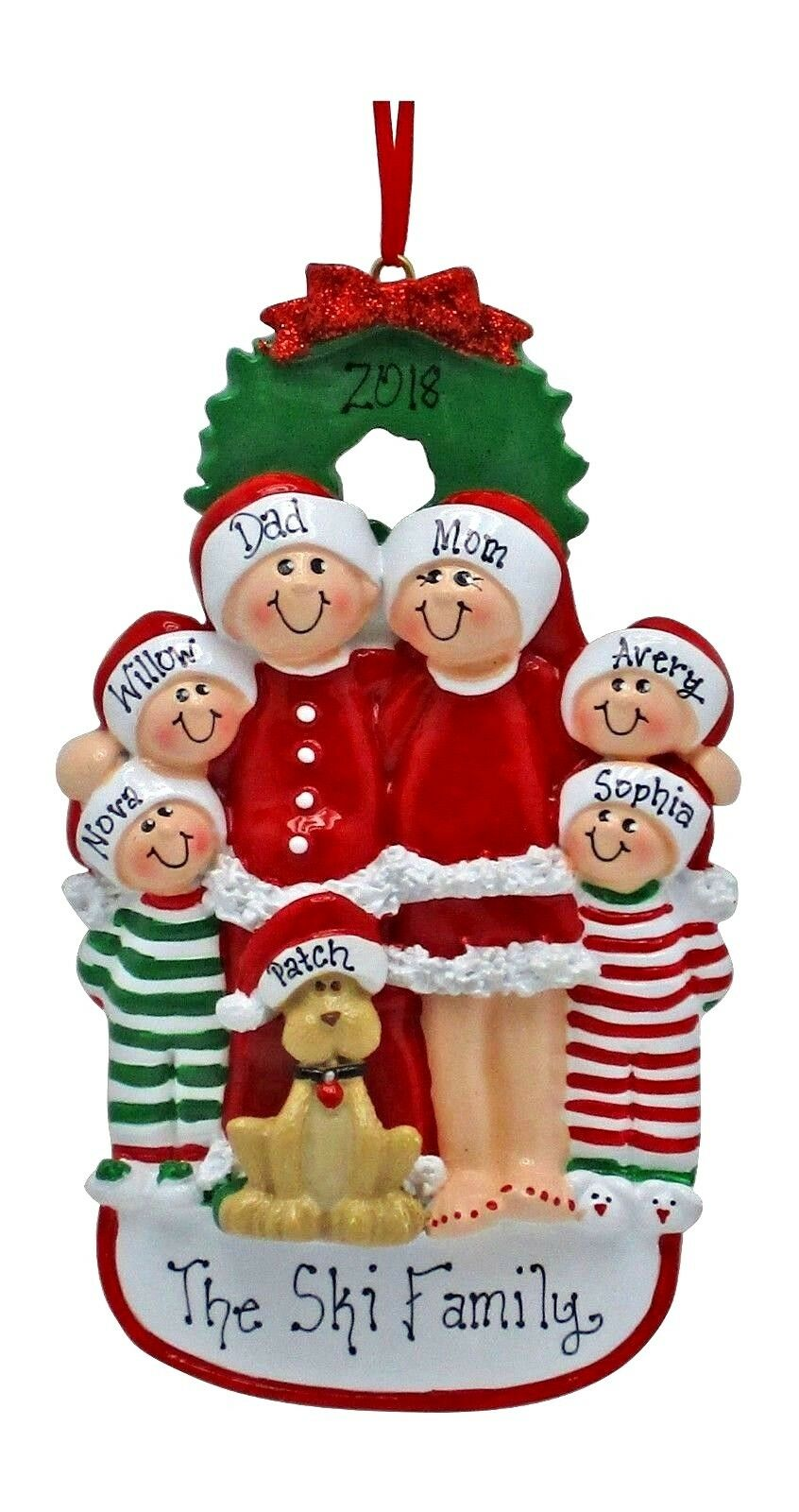 [Personalized Christmas Tree Ornament - Pajama Family With Dog Family of 3 4 5 6</Title]