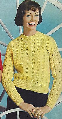 Vintage Knitting PATTERN to make Knit Lace Lacy Cardigan Sweater YellowLaceCardi Lace Cardigan Knit Pattern