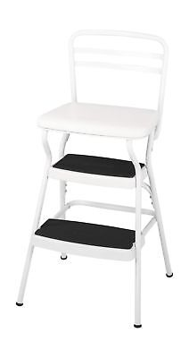 Retro Chair With Step Stool - Cosco White Retro Counter Chair/Step Stool with Lift-up Seat