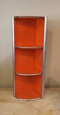Vintage Mid Century Modern Atomic Metal Corner Shelf, Art Deco, Industrial
