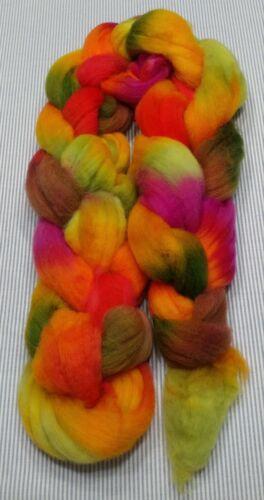 Superwash Wool Combed Top Roving Spinning Handpainted USA NWT Patti 5.2