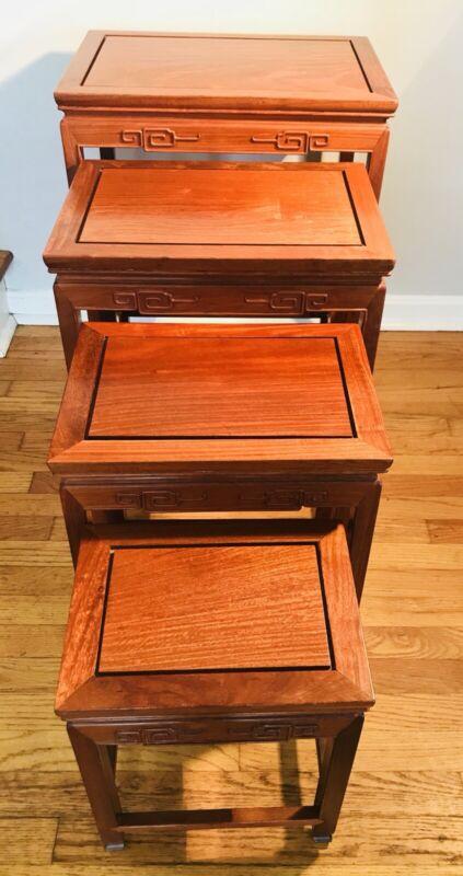 Vintage Wood Nesting Tables - Set Of 4 By Far Eastern Furnishings - Hong Kong
