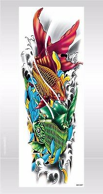- US SELLER- waterproof face koi carp fish wave full arm tattoo 18