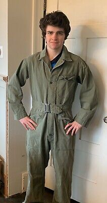 WW2 US Army HBT Original Coveralls Tanker 13 Star Buttons Paratrooper Med-Large