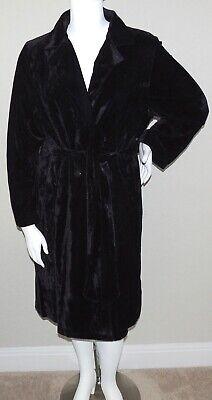 Soprano Velvet Belted Trench Coat Jacket - Black - Plus 1X/2X & 2X/3X - New! Belted Velvet Coat