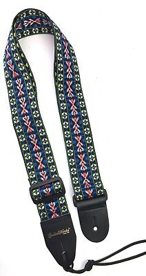 Guitar Strap Blue Yellow Red Woven Nylon with Solid Leather