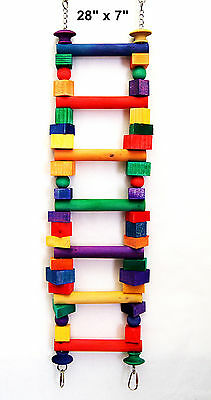Wooden Colored Ladder pet bird parrot cage toy cockatoo african grey mini macaw