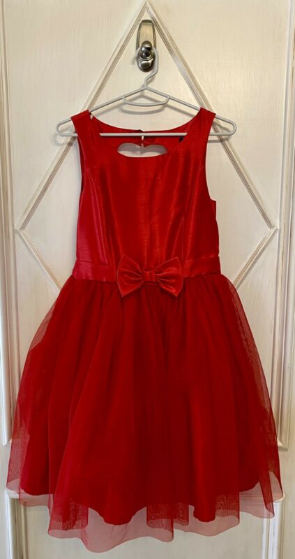 Zunie Girls' Red Fit & Flare Bow Tulle Party Dress 16