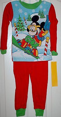 Disney Snowboarding Christmas Mickey Pajamas Boys 3t & 4t - 2 Designs Avail.