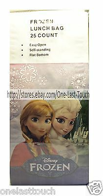 PLAY ACTION 25 Count DISNEY FROZEN Paper Lunch/Snack Bags/Sa