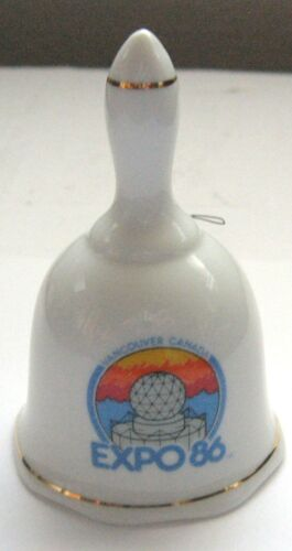 """Expo 86 Porcelain Bell Vancouver Canada Made in Taiwan 3"""" Official Souvenir"""