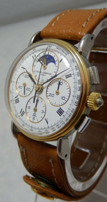 Baume & Mercier 18k/ss Moonphase Chronograph Unisex Watch With Date 6102.099 - watch picture 1