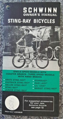 VINTAGE 1972 SCHWINN STINGRAY BICYCLE OWNERS MANUAL