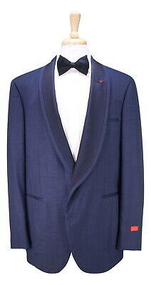 NWT New ISAIA Dark Blue Berry Wool Shawl Lapel 1-Btn Tuxedo Suit 46L