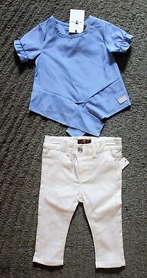 7 For All Mankind Baby Girls 2 Piece Outfit (Jeans & Top) - Size 12 Months (2 Piece Outfit Jeans)