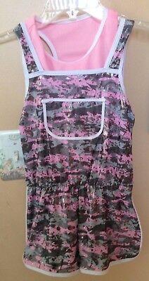 Dance Costume CURTAIN CALL Size Child Medium Pink Camo Silver Overall HIP HOP Hop Pink Camo