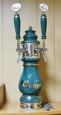 New Beer Tower Tap Faucet Draft Double Ceramic Kegerator Logo Bidburger