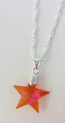 Kette silberfarben mit Swarovski Stern Star Rot Orange Astral Pink