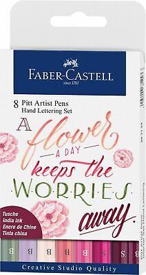 Faber-Castell Pitt Artist Pens Red Tones Wallet of 8 Hand Lettering Set #267124
