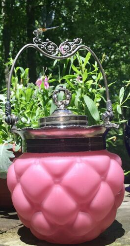 Antique Consolidated Glass Pink Satin Glass Biscuit Jar Florette Pattern