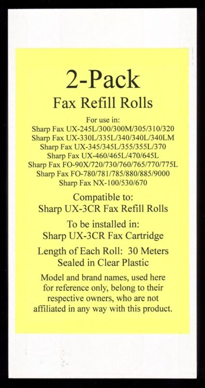 2-pack of UX-3CR Fax Refill Rolls for Sharp UX-345 UX-345L UX-355 UX-355L UX-370
