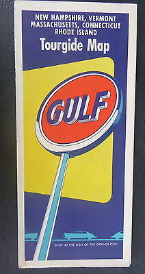 1955 New Hampshire Vermont Massachusetts Connecticut RI road  map Gulf oil gas