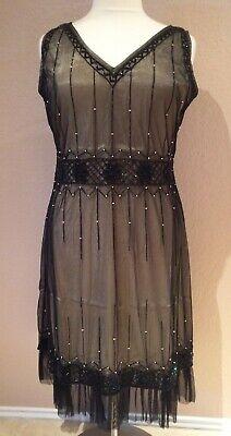 1920s Plus Size Flapper Dress (Women's Vintage Flapper Inspired Dress V-Neck Beads Ruffle Retro Black Plus)