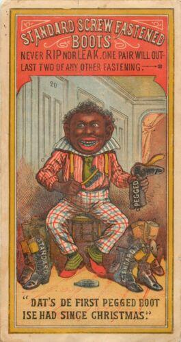 Victorian Tradecard, Standard Screw Fastened Boots, Black Shoeshine Boy