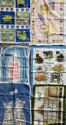 Joblot X 6 Vintage Kitsch Cotton Tea Towels Retro Cats Kittens Linen