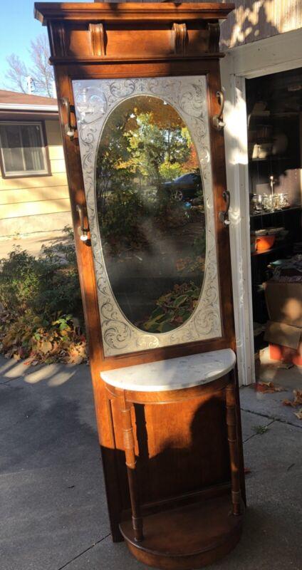 Vintage Pulaski Victorian Style Wood Hall Tree Marble Top Mirror Coat Rack 79.5″