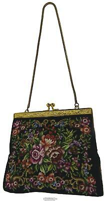 1930s Handbags and Purses Fashion 30s Tapestry Evening Purse Handbag Gold Color Frame Snake Chain Handle 15 x 15cm $38.67 AT vintagedancer.com