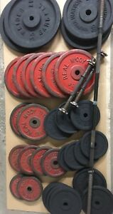 Weight plates, bar, dumbbell handles, weight rack / stand