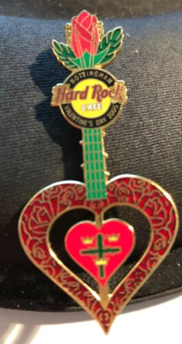 Hard Rock Cafe *NOTTINGHAM, UK* VALS DAY RED ROSE COAT OF ARMS GUITAR PIN LIM ED