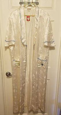 NWT VINTAGE Double Peach XL Womens Robe White Floral Embroidered Sleepwear -