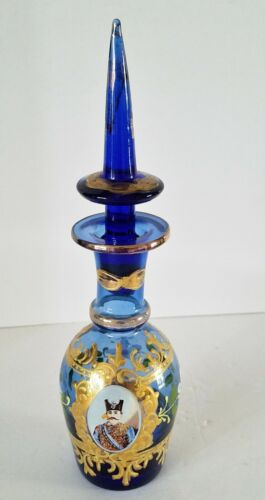 PERSIAN GLASS DECANTER-HANDCRAFTED BLUE CUT CRYSTAL, GOLD GILDED ENAMEL 10""