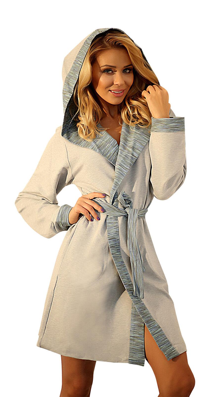 08ab20c6ee Womens Warm Hooded Housecoat Short Dressing Gown Cotton Soft Bathrobe Robe