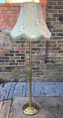 VINTAGE floor standing Brass Columed Standard Lamp with Floral Chinz Lampshade