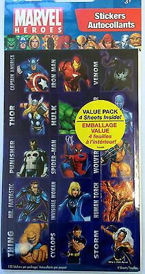 4 Sheet Marvel Heroes Sticker Party Favors Teacher Supply Hulk Ironman Spiderman - Marvel Heroes Party Supplies