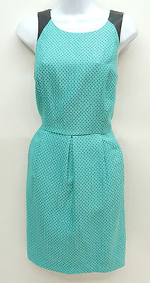 Kensie Aqua Pin Dot Sleeveless Faux Leather Trim Sheath Dress Women