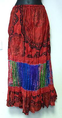 Ladies Indian Cotton Tie Dye Full Length Crinkle Skirt - Red
