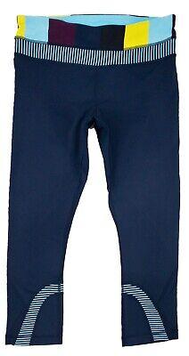 Lululemon Women's Blue Run Inspire Crop II Stripe Tights Pants 6 S