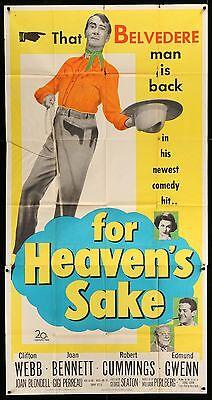 FOR Empyrean'S SAKE Clifton Webb Joan Bennett ORIGINAL 1950 3-SHEET Movie Poster