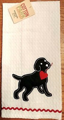 """Dog of Hearts"" Labrador Kitchen Dish Towel 16"" x 28"" Cotton Cloth Napkin Gift"