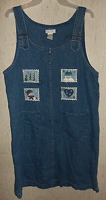 WOMENS Christopher & Banks NOVELTY SNOWMAN STAMPS BLUE JEAN JUMPER DRESS  SIZE L