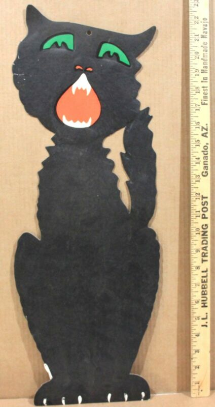 "1940-50s H E Luhrs Die Cut Halloween Hanging Yowling Black Cat  23 ¼"" Tall"